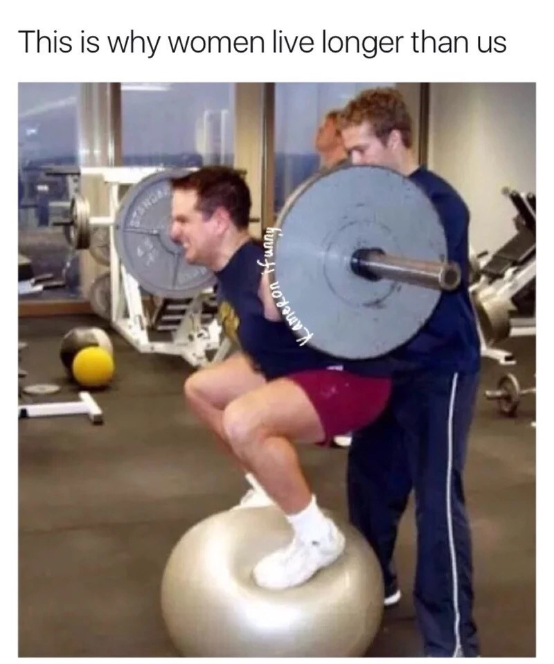 Friday meme of men working out in an irresponsible way with caption joking that this is why women live longer than men