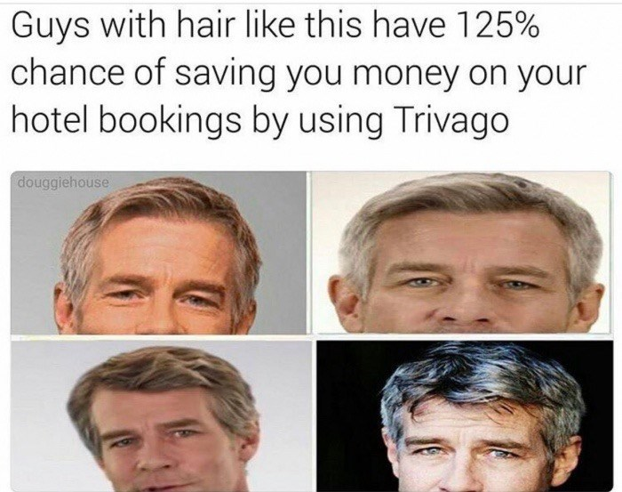 Friday meme about the man from the Trivago advertisements