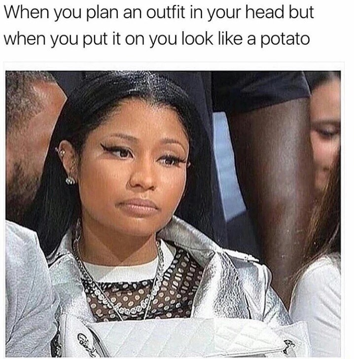 Friday meme about not looking the way you imagine yourself with pic of Nicki Minaj