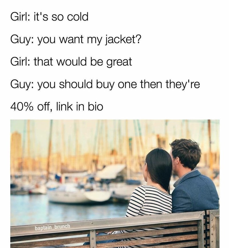Friday meme about bad flirting form with pic of couple sitting together