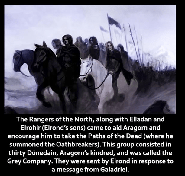Text - The Rangers of the North, along with Elladan and Elrohir (Elrond's sons) came to aid Aragorn and encourage him to take the Paths of the Dead (where he summoned the Oathbreakers). This group consisted in thirty Dúnedain, Aragorn's kindred, and was called the Grey Company. They were sent by Elrond in response to a message from Galadriel.