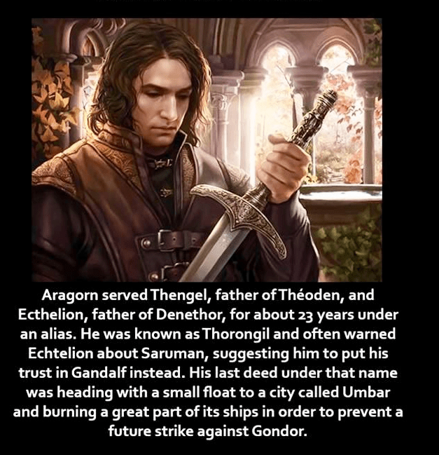 Movie - Aragorn served Thengel, father of Théoden, and Ecthelion, father of Denethor, for about 23 years under an alias. He was known as Thorongil and often warned Echtelion about Saruman, suggesting him to put his trust in Gandalf instead. His last deed under that name was heading with a small float to a city called Umbar and burning a great part of its ships in order to prevent a future strike against Gondor.