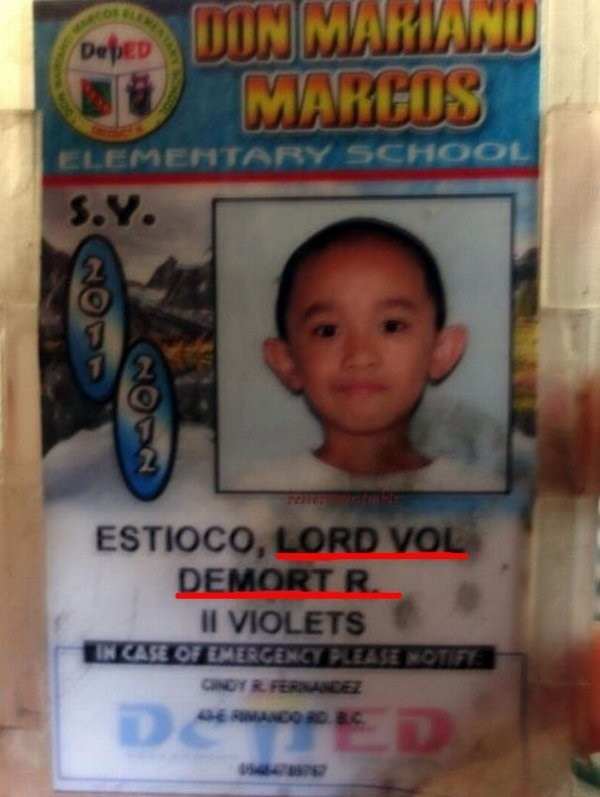 funny name - Child - DIN MARIAND MARCOS Depεν ELEMENTARY SCHOOL S.Y. ESTIOCO, LORD VOL DEMORT R. II VIOLETS IN CASE OF EMERGENCY PLEASE NOTIFY: CNDY RFERNANDEZ OCTTED -E RMANCO RD 8C ANY