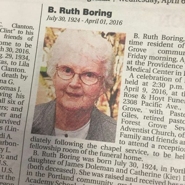 "funny name - Newspaper - B.Ruth Boring July 30, 1924 - April 01, 2016 B. Ruth Boring, time resident of Clanton, Clint"" to his friends of ome to be h 30, 2016. g. 29, 1934, as, to Lila Clanton. death by na G. omas J. ving his all six of ers; and er and rvived s (Lin- di A. arbon- y L. ; and .S. U.S. et the egon Grove commur Friday morning, A at the Providence Medical Center in A celebration of held at 2:30 p.m April 9, 2016, at t Rose&Hoyt Funer 2308 Pacific Ave., Grove, with Pasto Giles, retired"