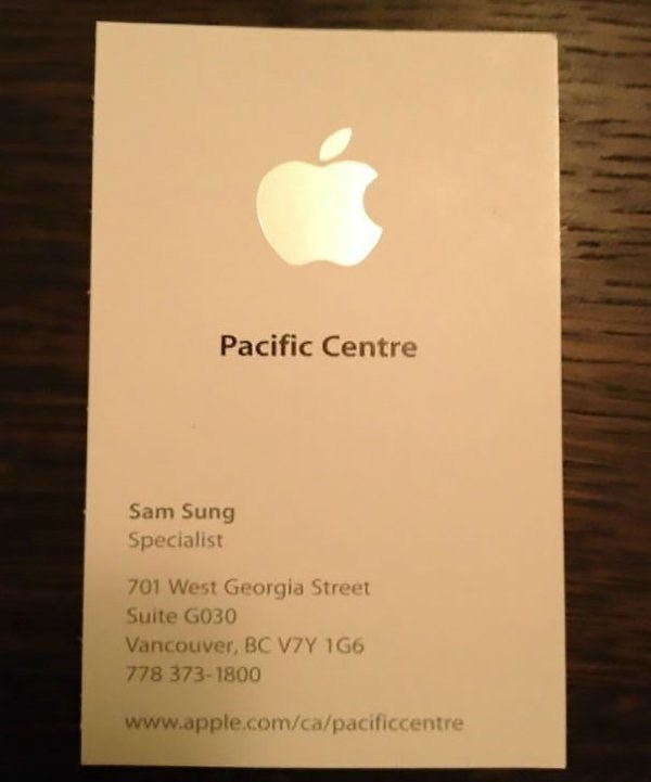 funny name - Text - Pacific Centre Sam Sung Specialist 701 West Georgia Street Suite G030 Vancouver, BC V7Y 1G6 778 373-1800 www.apple.com/ca/pacificcentre