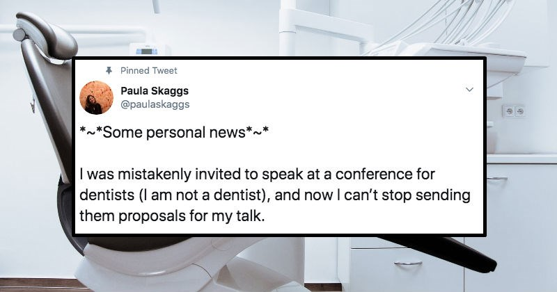 Comedian mistakenly invited to conference for dentists won't stop sending them pitch ideas as a joke.