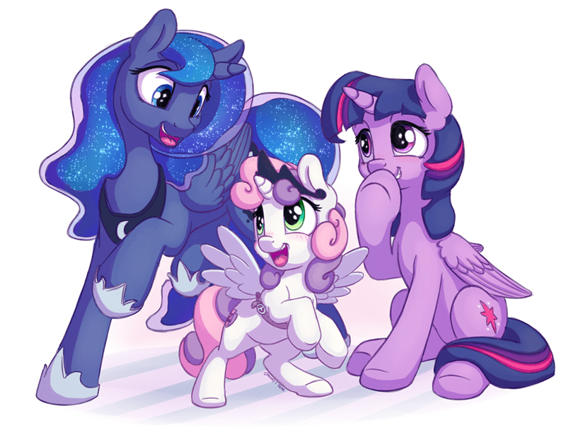 Sweetie Belle,twilight sparkle,princess luna,ma larson