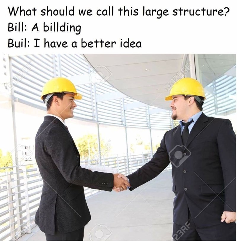 Product - What should we call this large structure? Bill: A billding Buil: I have a better idea a123RF RF 23RF Cn