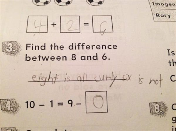 Text - Imogen Rory - 1 3Find the difference between 8 and 6 Is th eight al uay exis not c 410 1 = 9.-) $8 C