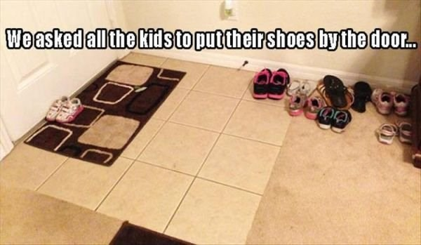 Floor - Weasked all the kids to put their shoes by the door..