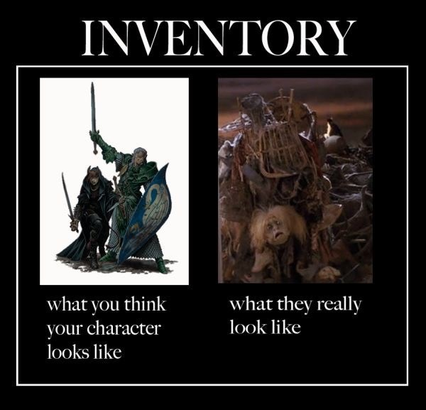 Photo caption - INVENTORY what you think your character looks like what they really look like