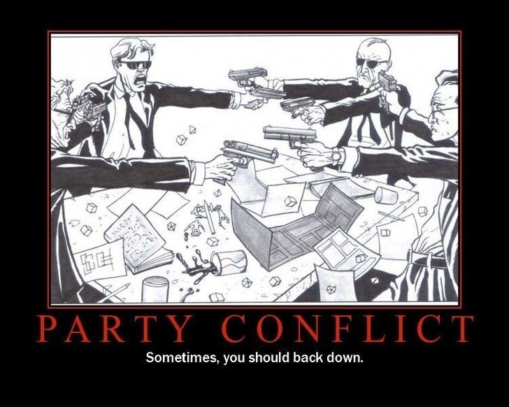 Cartoon - PARTY CONFLICT Sometimes, you should back down.