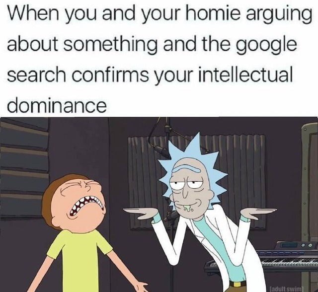Cartoon - When you and your homie arguing about something and the google search confirms your intellectual dominance (adult swim