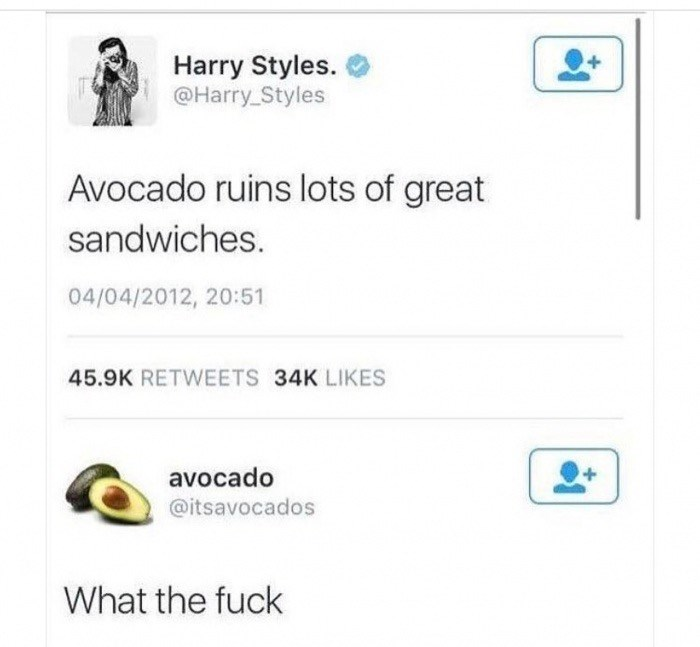 Text - Harry Styles. @Harry Styles Avocado ruins lots of great sandwiches. 04/04/2012, 20:51 45.9K RETWEETS 34K LIKES avocado @itsavocados What the fuck
