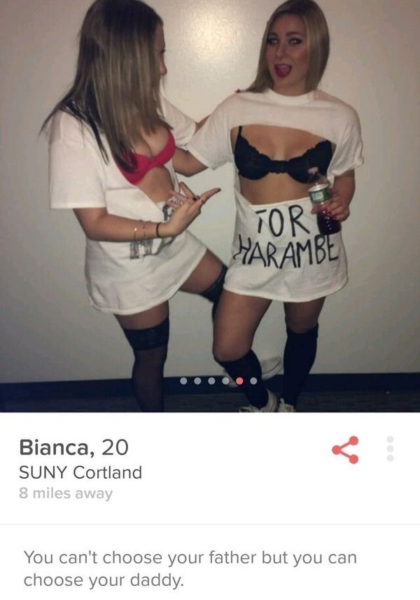 two girls dressed in bras Bianca, 20 SUNY Cortland 8 miles away You can't choose your father but you can choose your daddy.