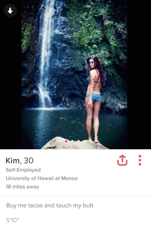 girl standing in front of waterfall - Kim, 30 Self-Employed University of Hawaii at Manoa 18 miles away Buy me tacos and touch my butt 5'10""