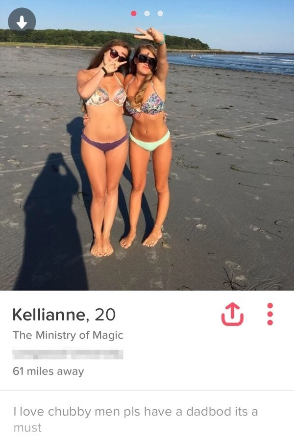 two girls in bikinis at the beach - Kellianne, 20 The Ministry of Magic 61 miles away T love chubby men pls have a dadbod its a must