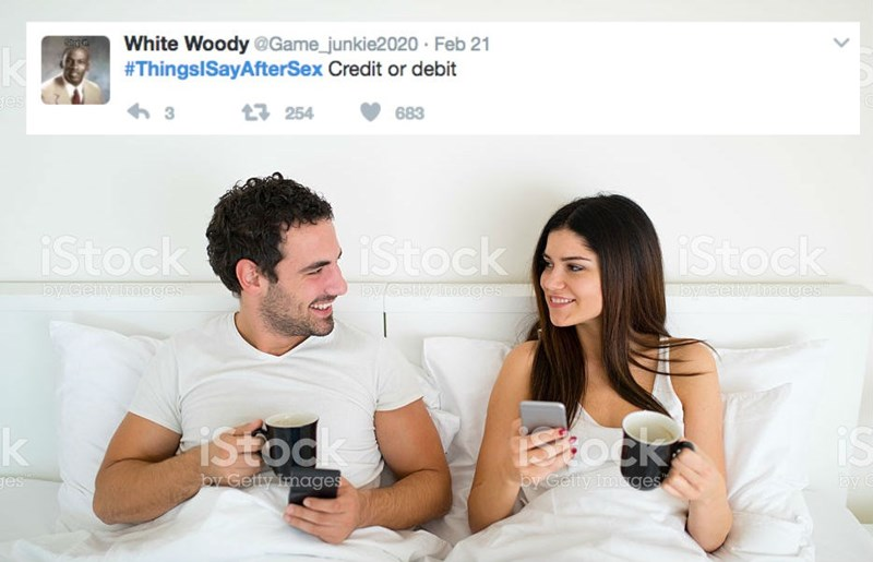 Product - White Woody @Game_junkie2020 Feb 21 #ThingsISayAfterSex Credit or debit es t254 683 iStock iStock iStock by Celly Imoges y cetly moges by Ceny Images IStock Sock is by C by Getty Images oy Getty Imges ges