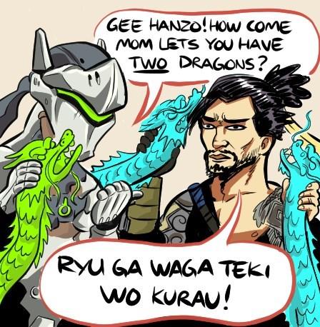 Cartoon - GEE HANZO!How comE MoM LETS YOu HAVE TWO DRAGONS? RYU GA WAGA TEKI wo KURAU! 3
