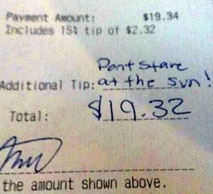 Text - Paveent AnOunt: Includes 15t tip of $2.32 $19.34 Pont Stare Additional Tip:at the Syn! 19.32 Total: the amount shown above.