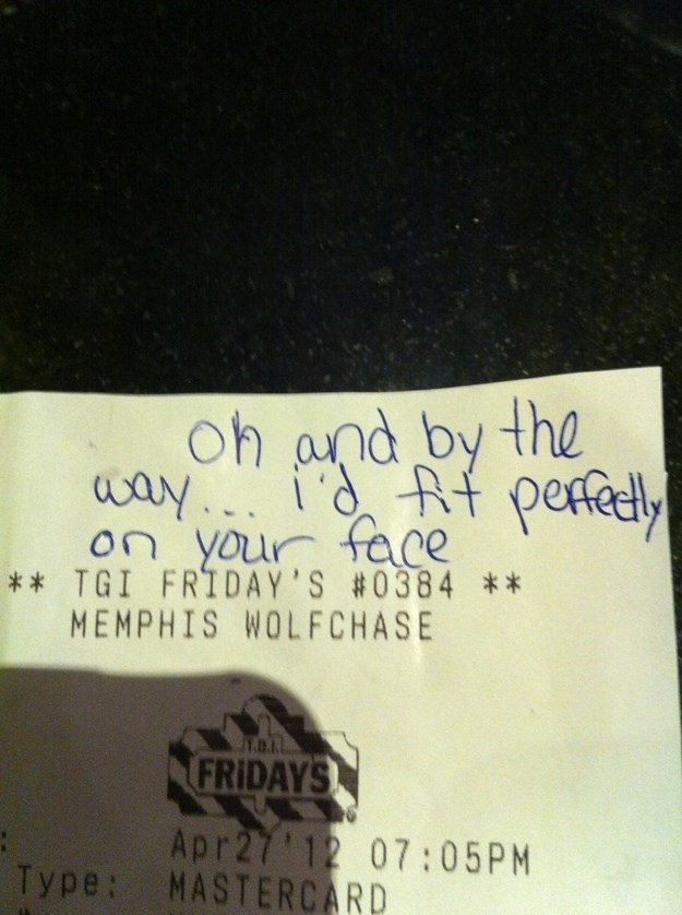 Text - Oh and by the way iRf raDYOr fece T pefely ** TGI FRIDAY'S #0384 ** MEMPHIS WOLFCHASE 1.0.1. FRIDAYS Apr27 12 07:05PM Type: MASTERCARD