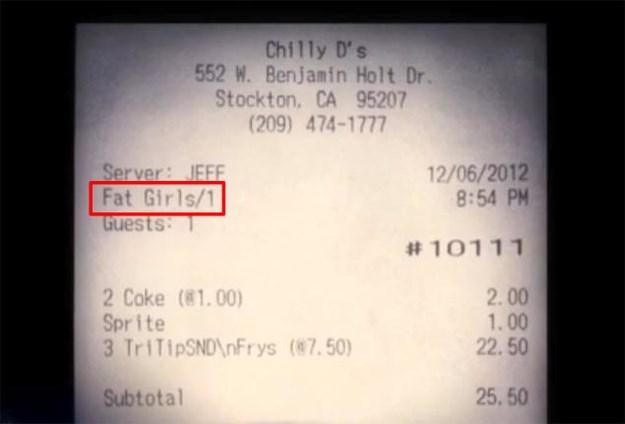 Text - Chilly D's 552 W Benjamin Holt Dr. Stockton, CA 95207 (209) 474-1777 12/06/2012 8:54 PM Server: JFFF Fat Girls/1 Guests: #10111 2.00 1.00 22.50 2 Coke (1.00) Sprite 3 TriTipSND\nFrys (87.50) 25, 50 Subtotal