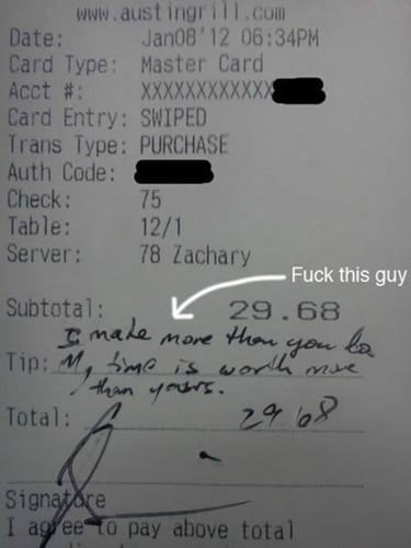 Text - www.austingril1.com Date: Card Type: Master Card Acct #: XXXXXXXXXXXX Card Entry: SWIPED Trans Type: PURCHASE Auth Code: Check: Table: Server: Jan08'12 06:34PM 75 12/1 78 Zachary Fuck this guy Subtotal: male mone thar gou k Tip: M, me is wodlh mse Haan yors 29.68 Total: Signatore I ag ee to pay above total
