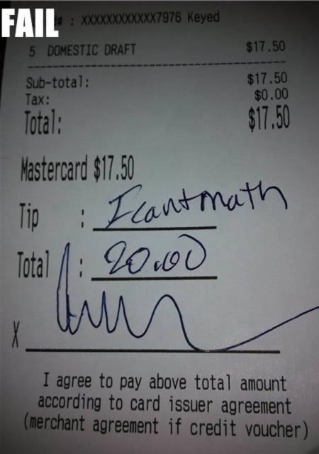 Text - FAIL XXXXXXXXXXXX976 Keyed 5 DOMESTIC DRAFT $17.50 Sub-total: Tax: $17.50 $0.00 Total: $17.50 Mastercard $17.50 Tip Lantmath Total I agree to pay above total amount according to card issuer agreement (merchant agreement if credit voucher)