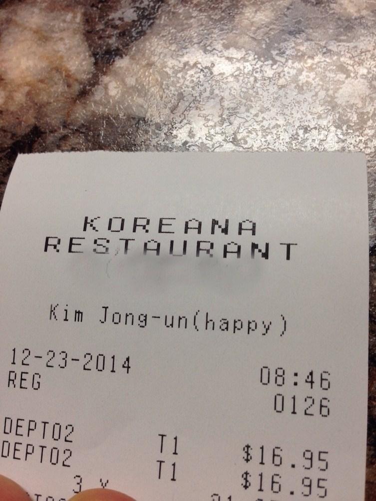Text - KOREAN A RESTAURANT Kim Jong-un(happy) 12-23-2014 REG 08:46 0126 DEPTO2 DΕPT02 T1 T1 $16.95 $16.95 3 V Toc