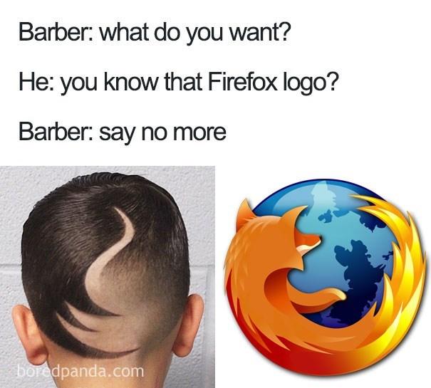 worst haircut meme that looks like the Firefox logo