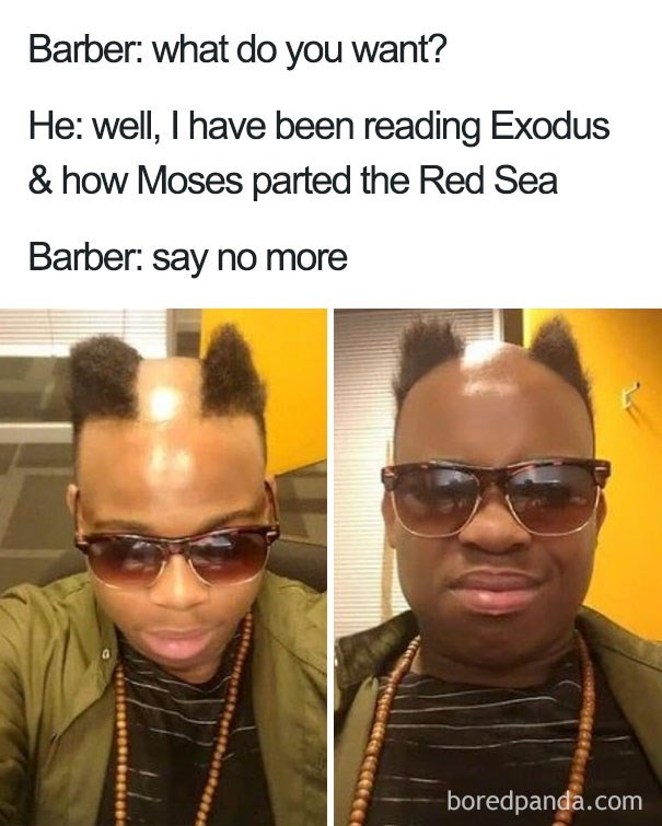 worst haircut meme that has a line down the middle of his head