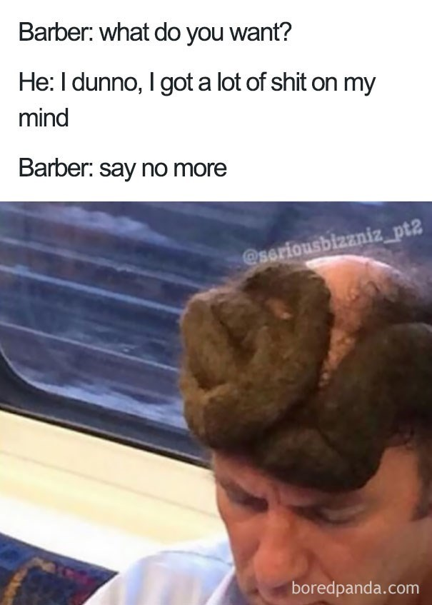 worst haircut meme of a bold guy with a knotted bun at the front of his head