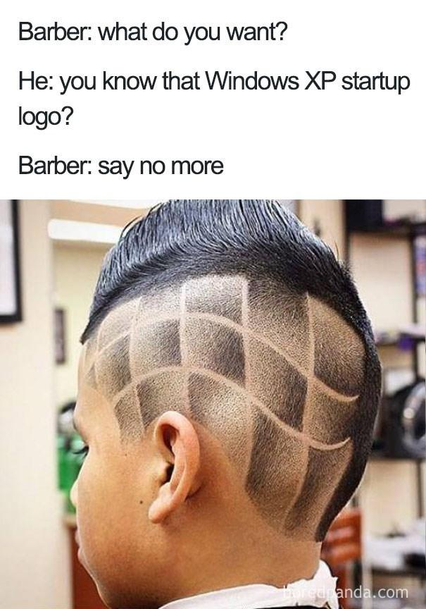 worst haircut meme that looks like the Windows XP logo