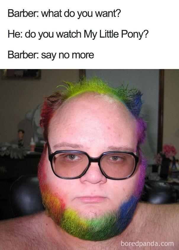 worst haircut meme of a rainbow beard and hair