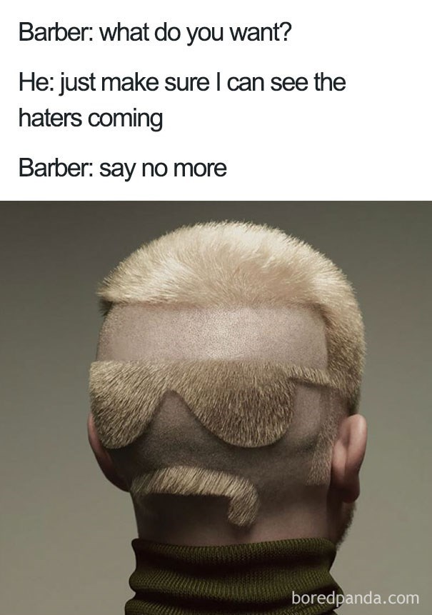 worst haircut meme of a back of a head that the hair is cut to show glasses and a mustache