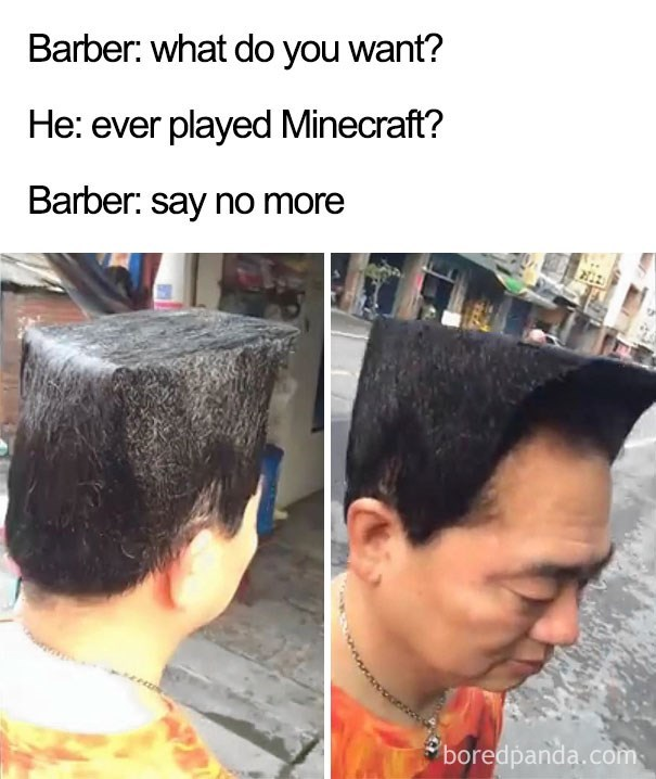 worst haircut meme that looks like Minecraft