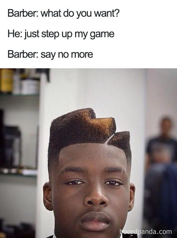 worst haircut meme that looks like steps on his head
