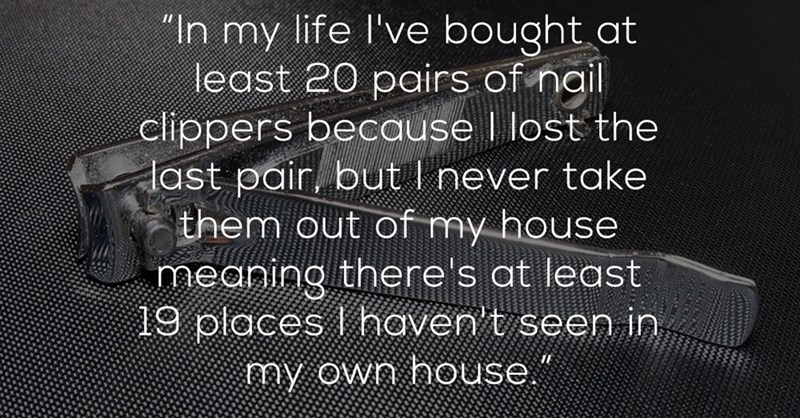"""Text - """"In my life l've bought at least 20 pairs of nail clippers because I lost the last pair, but I never take them out of my house meaning there's at least 19 places I haven t seen in my own house."""""""