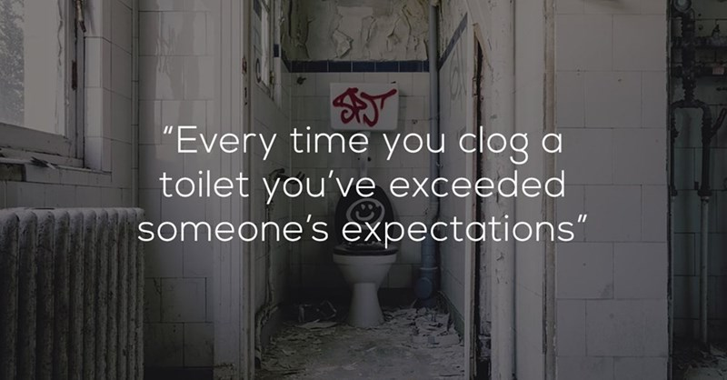 """Font - """"Every time you clog a toilet you've exceeded someone's expectations"""""""