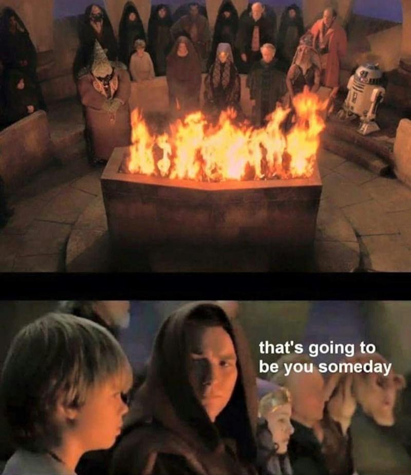 Star Wars prequel meme with Obi Wan telling Anakin he's going to burn in a fire