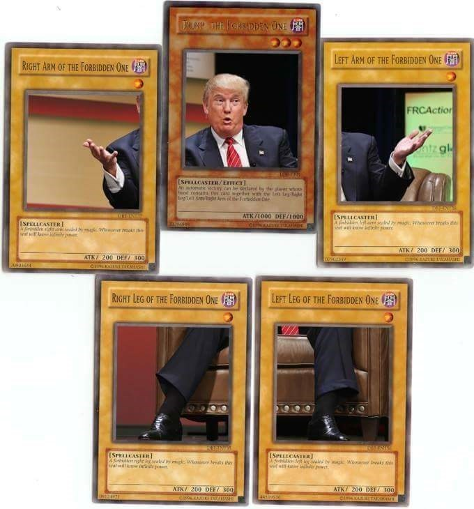 Yugioh The Forbidden One card set creating the image of Donald Trump