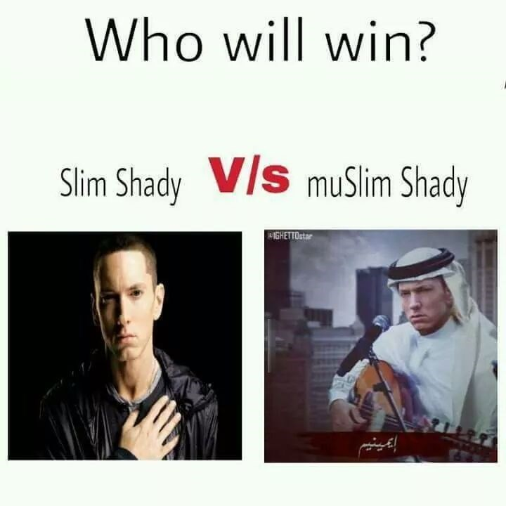 Pun about Muslim Shady, who is Eminem dressed in traditional Arabian clothes