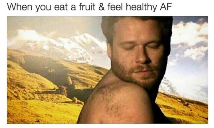 wholesome meme with seth rogan and about eating healthy and feeling great
