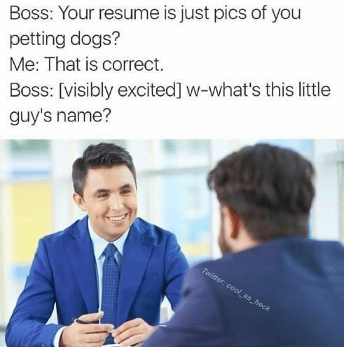 wholesome meme of a boss asking what an employees dog is named
