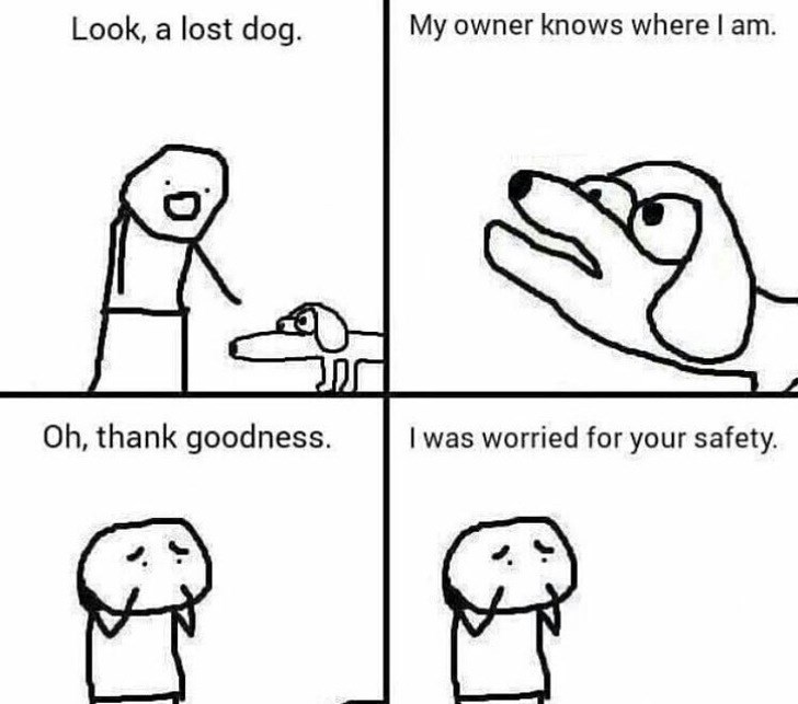 happy meme of a comic of a dog that's lost and a person tries to help it