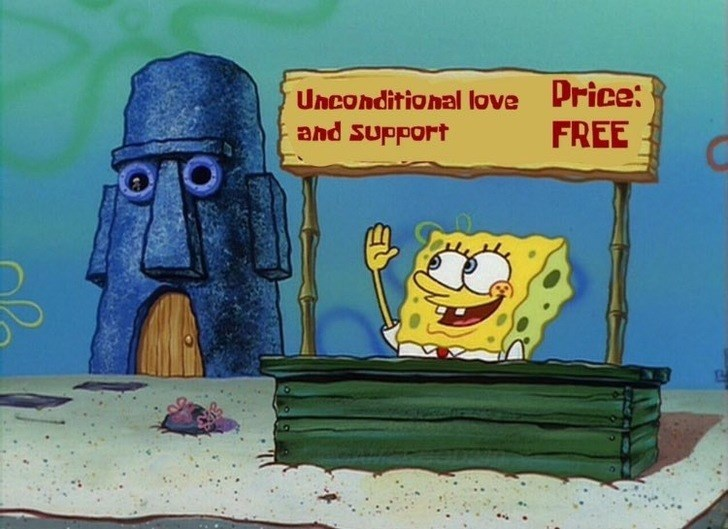 wholesome meme with spongebob giving free unconditional love and support