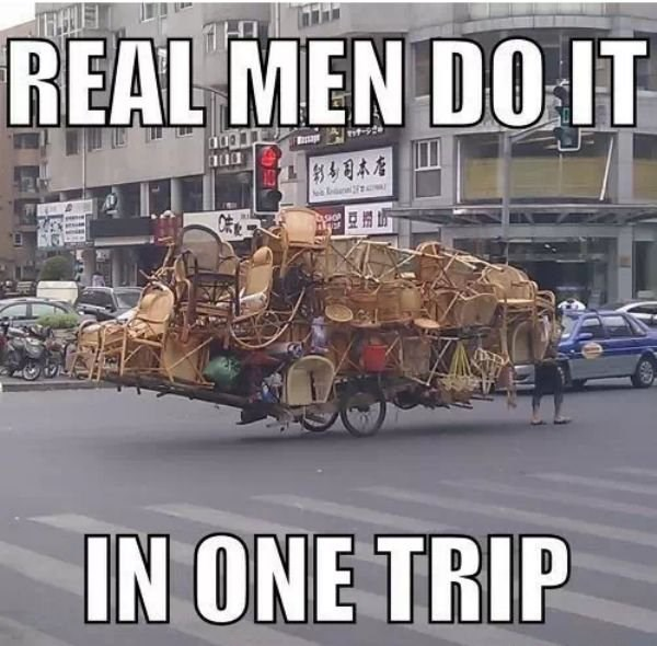 Mode of transport - REAL MEN DO IT hoot a IN ONE TRIP