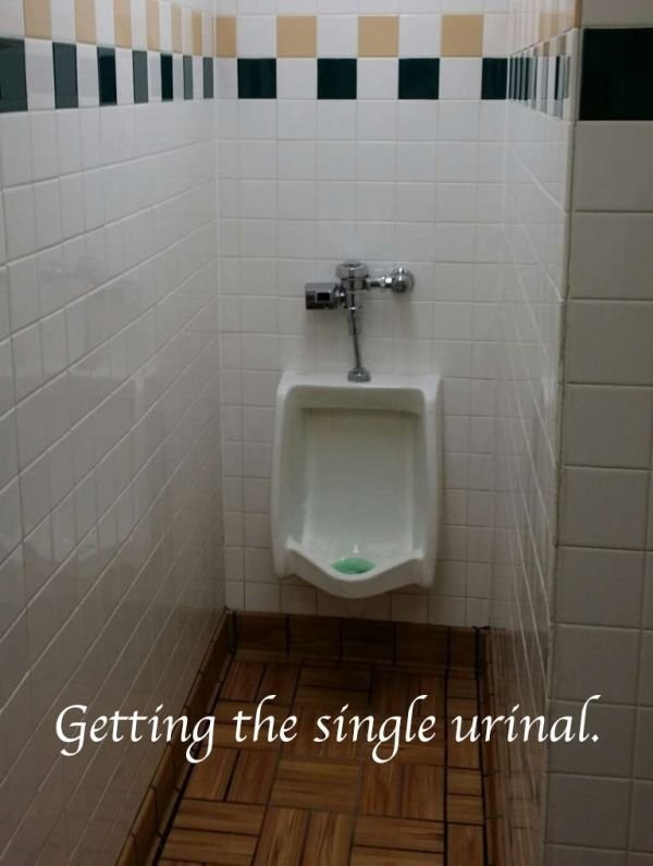 Tile - Getting the single urinal.