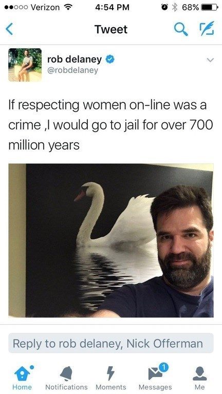 cringeworthy - Text - oo0 Verizon 4:54 PM 68% Tweet rob delaney @robdelaney If respecting women on-line was a crime ,I would go to jail for over 700 million years Reply to rob delaney, Nick Offerman Notifications Moments Home Messages Me