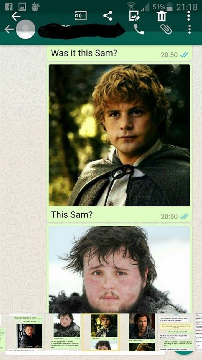 Movie - 21:18 51% O)) K Was it this Sam? 20:50 This Sam? 20:50